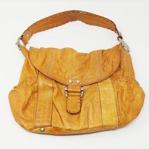 b. makowsky Brown Distressed Leather Shoulder Bag
